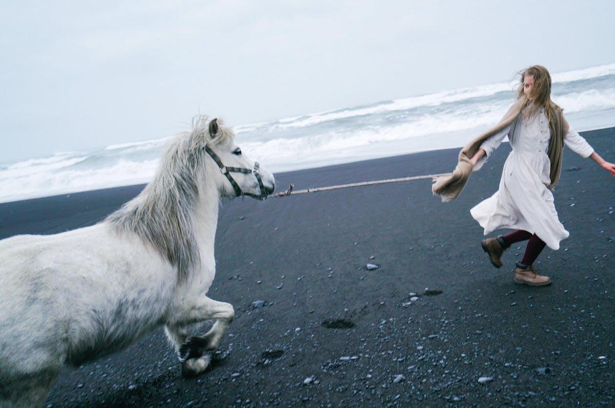 Romantic teenage girl leading horse on black sand shore 4344317