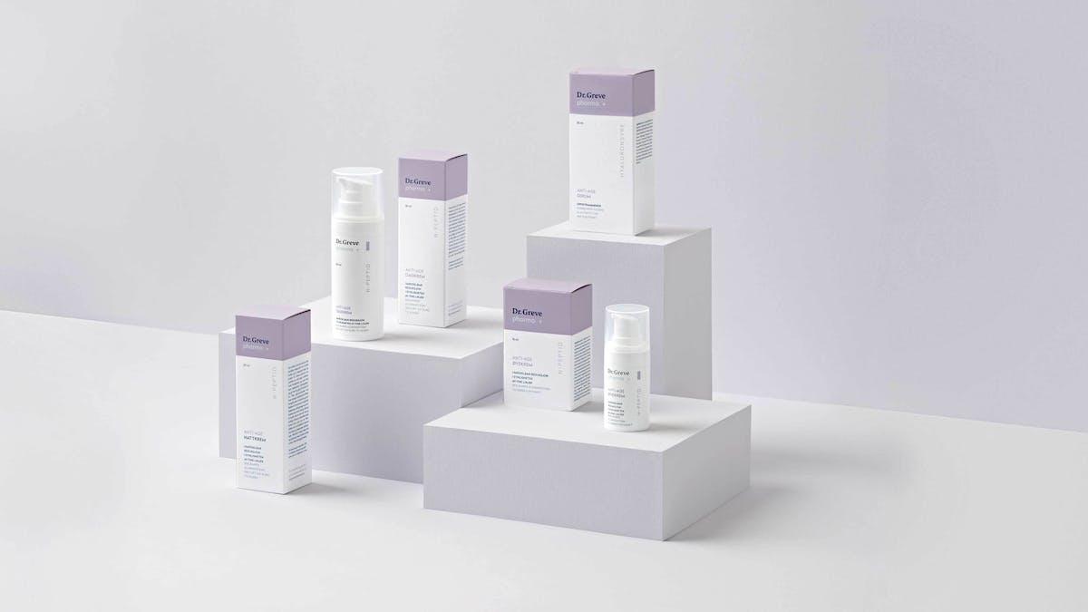 Samples of the anti age packaging for dr greve pharma pluss 1